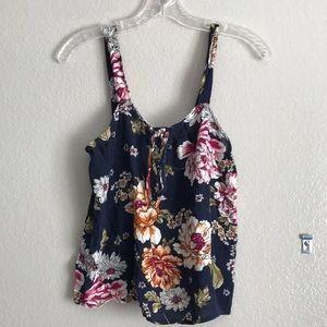 Pink rose semi crop floral print tank top